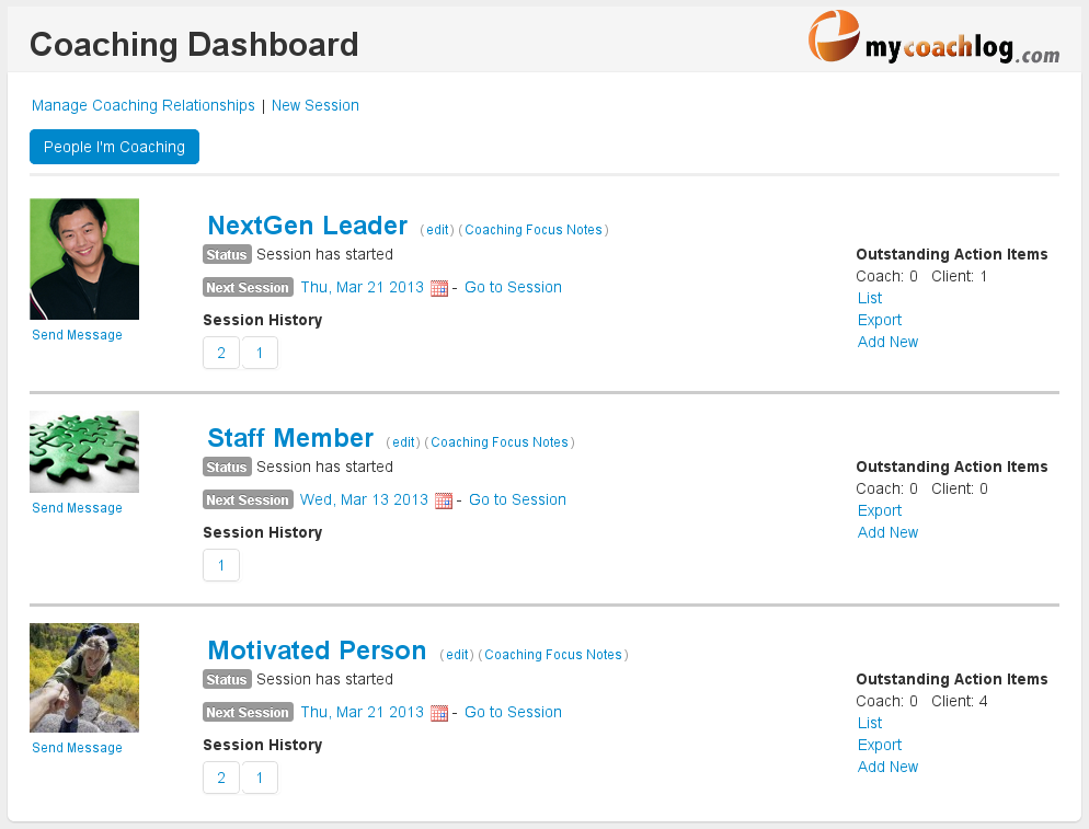 MyCoachLog Dashboard