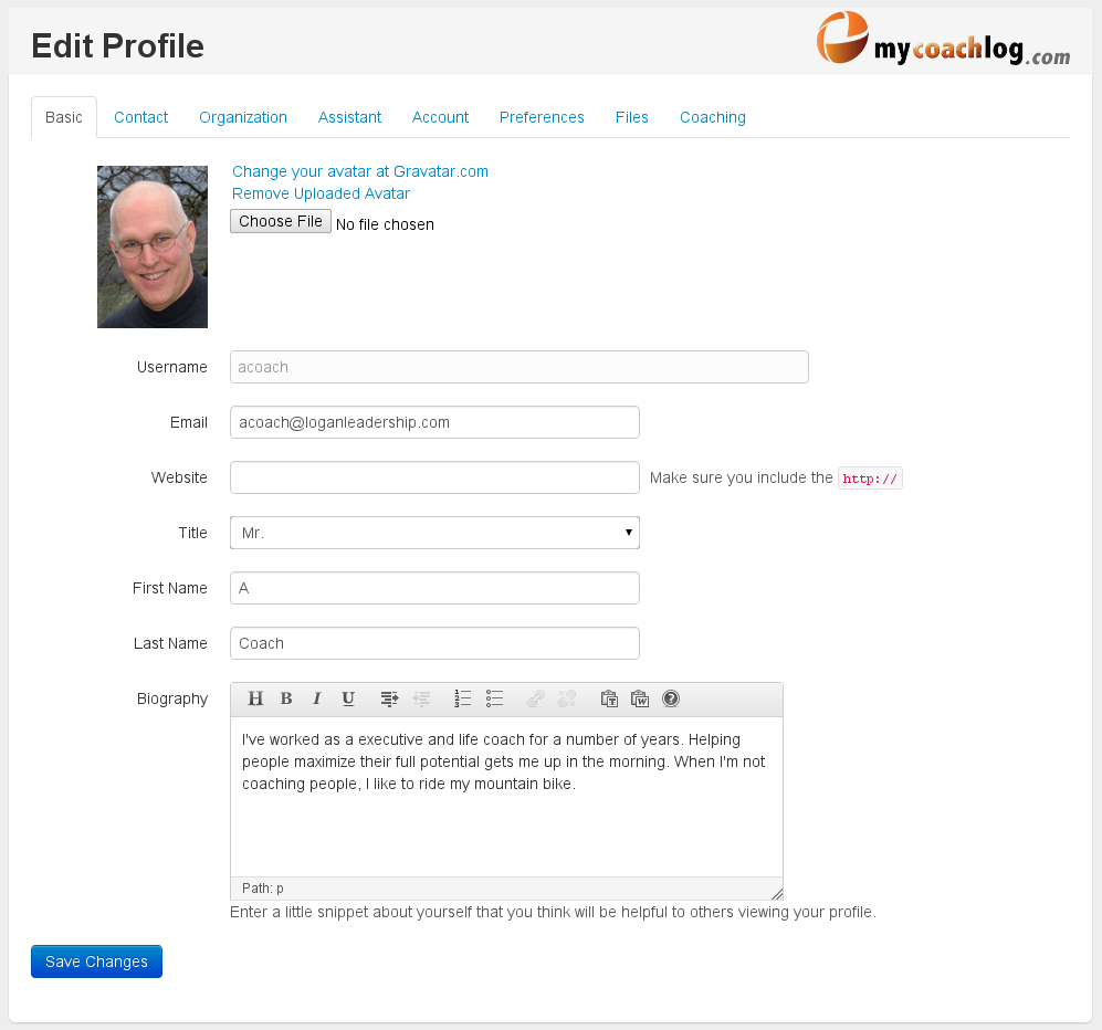 Edit a Profile in MyCoachLog